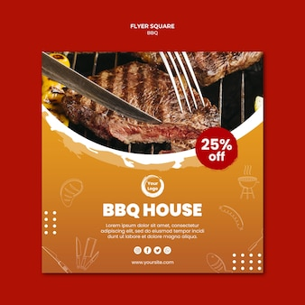 Close-up meet and cutlery square flyer template