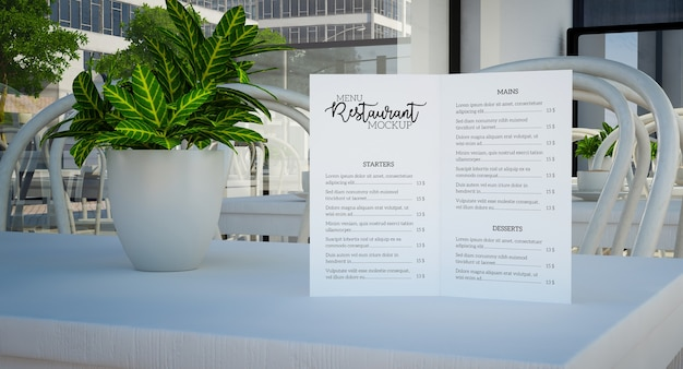 Close up on menu mockup with flower