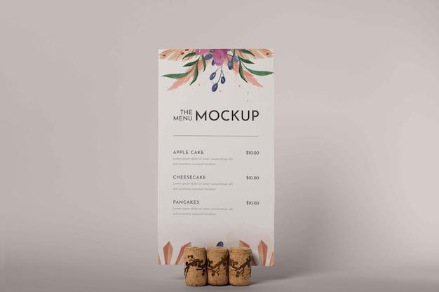 Close up on menu mockup in wooden holder