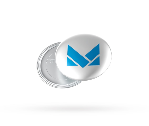 Close up on metal badge mockup isolated