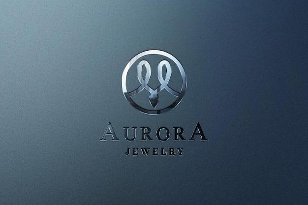 Close up metallic logo mockup with debossed effect