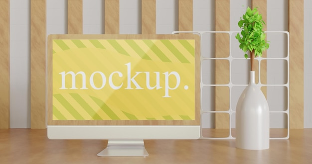 Close up on minimalist screen monitor mockup