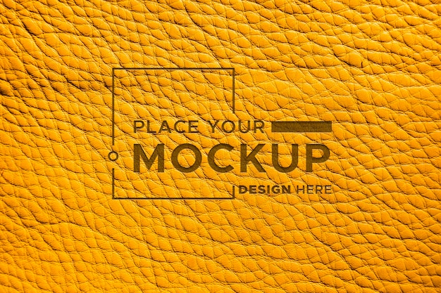 Close-up of mock-up yellow leather