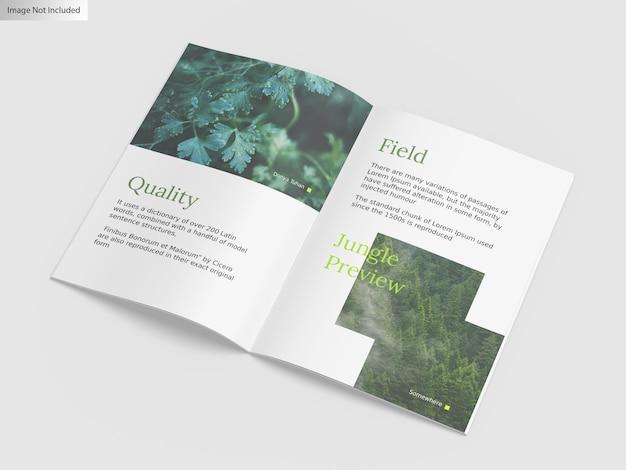 Close up on mockup of bifold brochure