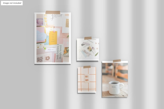 Close up on moodboard mockup isolated