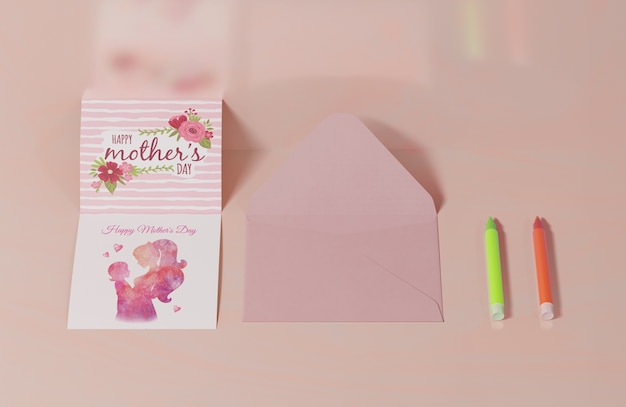 Close-up mothers day greeting card with envelope