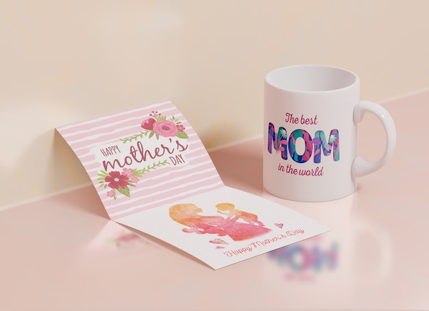 Close-up mothers day greeting card with mug
