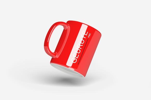 Close up on mug with handle mockup isolated