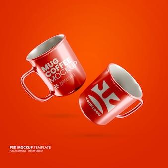 Close up on mugs mockup floating isolated