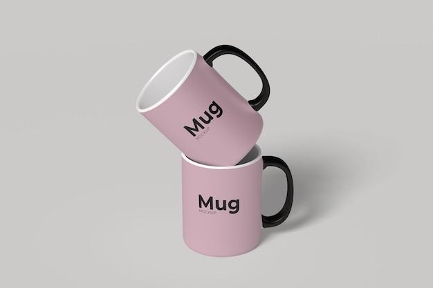 Close up on mugs with holder mockup isolated