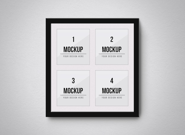 Close up on multiple photo frames mockup isolated