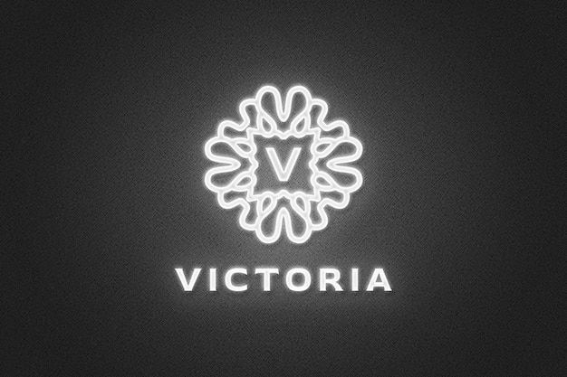 Close up on neon light logo mockup