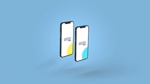Close up on notched smartphone mockup design