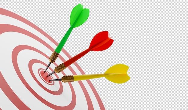 Крупный план бычьего глаза на стене с дротиками на целевой 3d иллюстрации