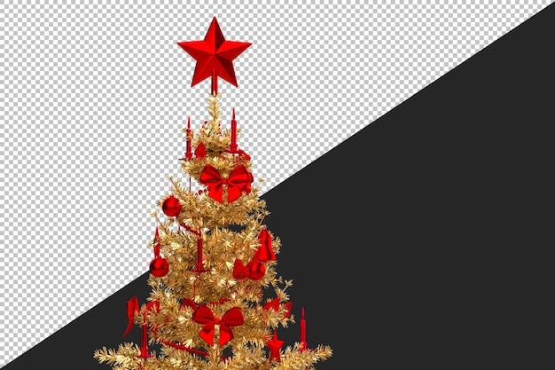 黄金のクリスマスツリーのクローズアップ