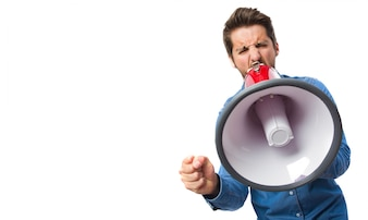 Close-up of concentrated worker with megaphone