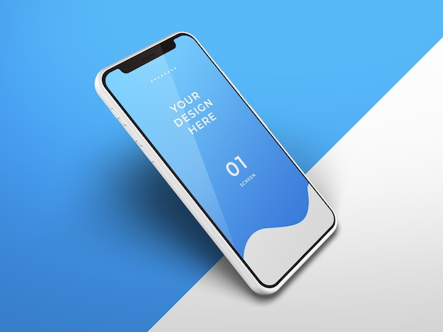スマートフォンのモックアップのクローズアップ