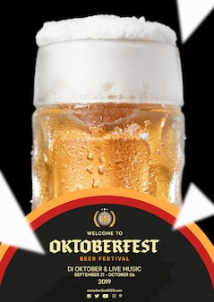 Close-up oktoberfest beer mug with foam