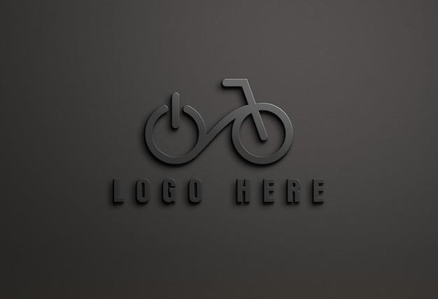 分離された3d暗いロゴのモックアップにクローズアップ