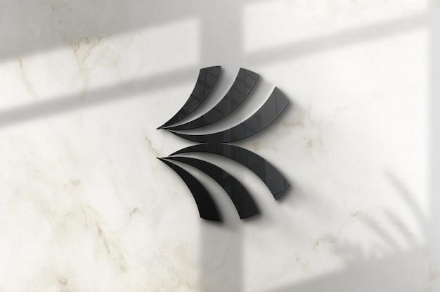Крупным планом на 3d-макете логотипа на стене