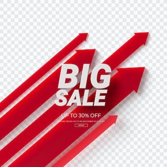 Крупным планом на 3d диаграмме красный продажа изолированные