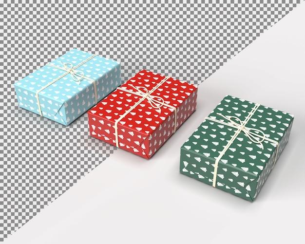 메리 크리스마스를위한 3d 렌더링 선물 상자에 가까이