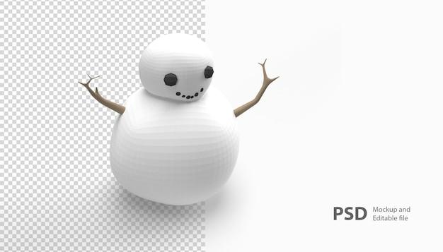 孤立した雪だるまのレンダリングにクローズアップ