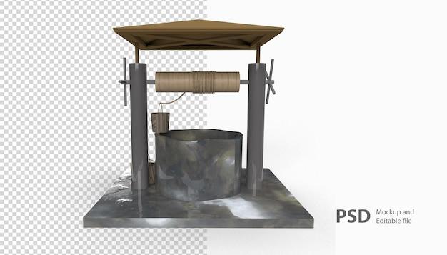 Крупным планом на рендеринг колодца воды изолированы