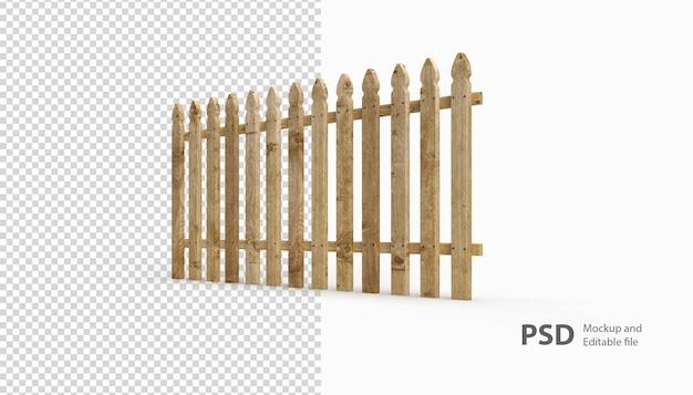 孤立したレンダリングの木製のフェンスにクローズアップ