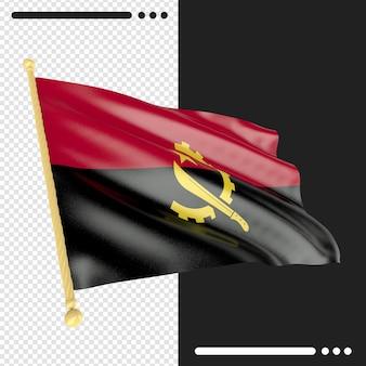 孤立したアンゴラの国旗のレンダリングをクローズアップ