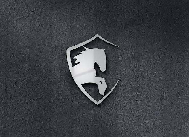 벽에 아름다운 로고 모형에 가까이