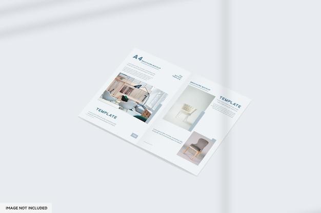 透視図で二つ折り家具パンフレットモックアップをクローズアップ