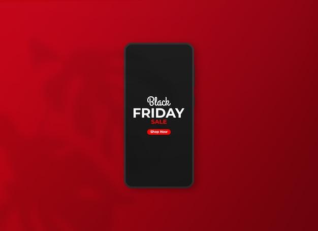 黒い金曜日のスマートフォンのモックアップにクローズアップ