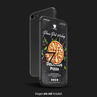 Крупным планом на черный телефон макет изолированы