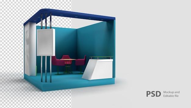 Крупным планом на стенде выставки в 3d-рендеринге изолированы