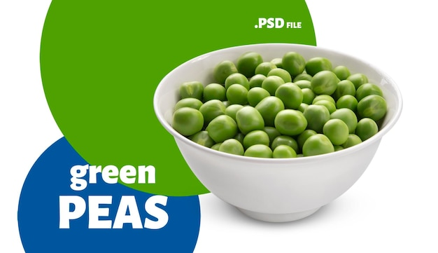 Крупным планом на миске зеленого горошка изолированы Premium Psd