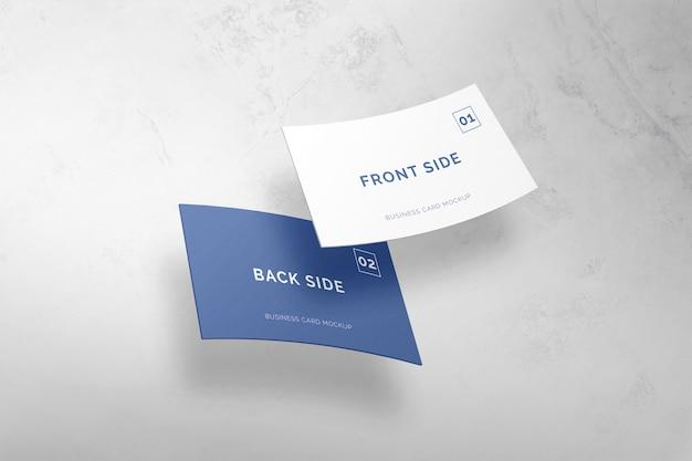 Крупным планом на летающем макете визитной карточки