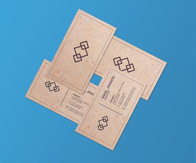 Крупным планом на макете логотипа визитных карточек