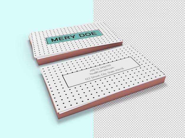 Крупным планом на изолированном макете визитных карточек