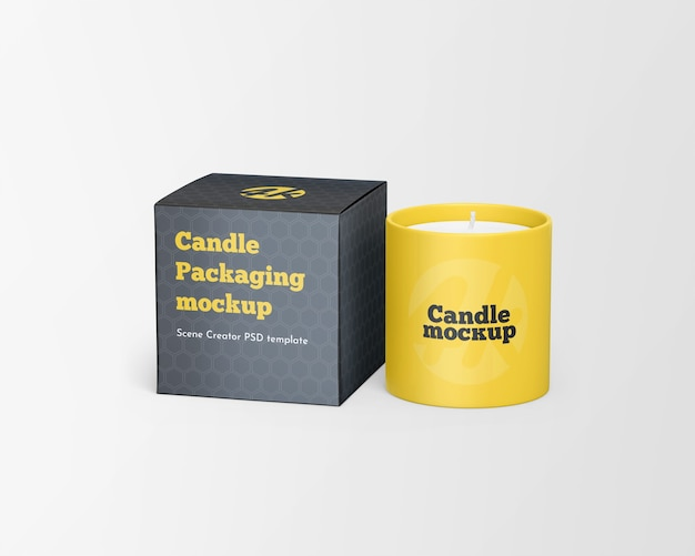 Крупным планом на свечу с макетом коробки для свечей