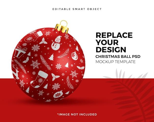 クリスマスボール飾りモックアップのクローズアップ