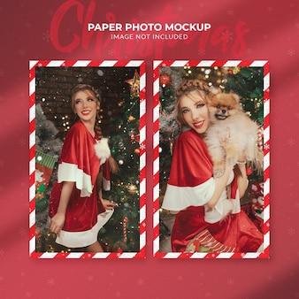 크리스마스 종이 사진 모형에 가까이