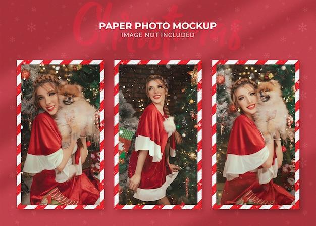 クリスマスの紙の写真のモックアップにクローズアップ