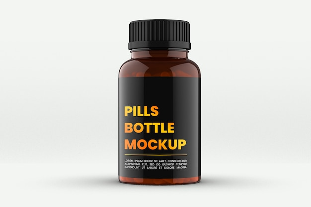 Крупным планом на макете бутылки clear medical pills