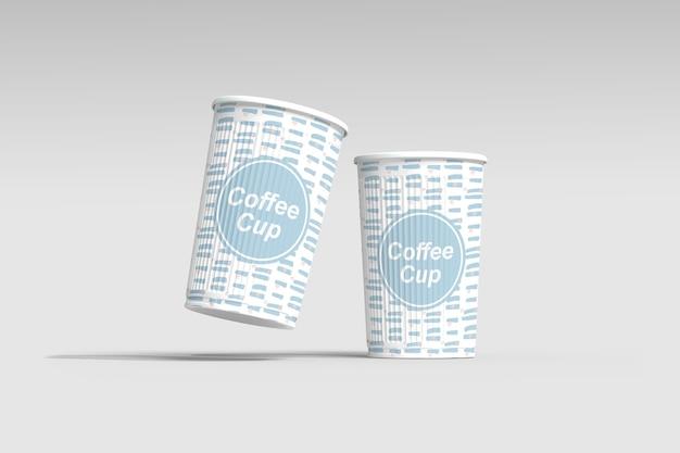 分離されたコーヒーカップモックアップのクローズアップ