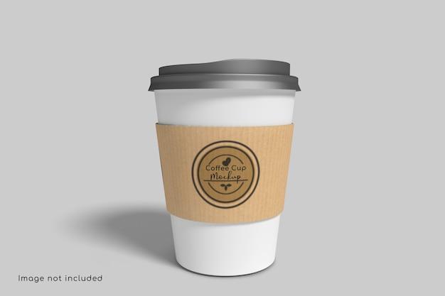 Крупным планом на макете кофейной чашки с картонной бумагой