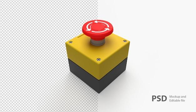 Крупным планом на изолированной аварийной кнопке