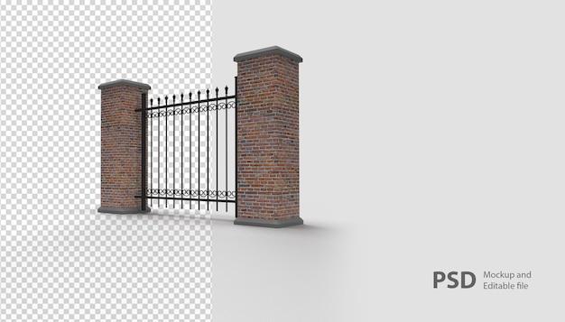 Крупным планом на заборе в 3d-рендеринге изолированные