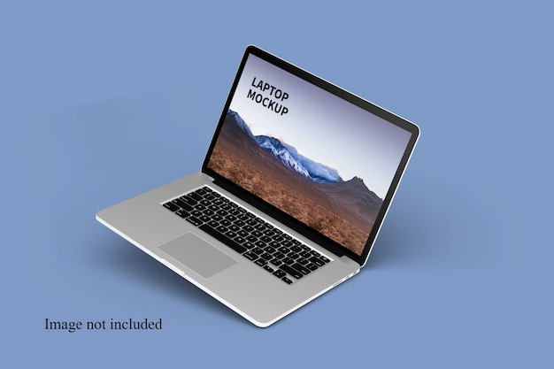 Макет плавающего ноутбука крупным планом