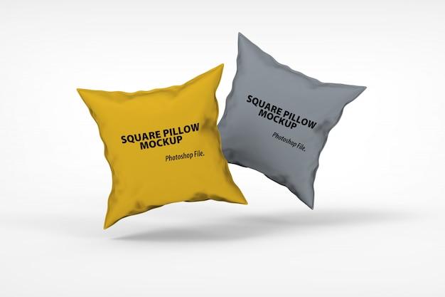 Макет подушки с плавающей квадратной подушкой крупным планом Premium Psd